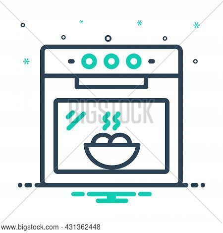 Mix Icon For Oven Kitchen Electronics Bake Cook Roast Warm Hot Electric Appliance Catering Food