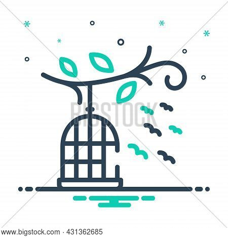 Mix Icon For Birds-outside-of-cage Cage Birds Freedom Flying Liberty Relinquish Birdcage Hang