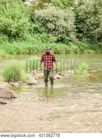 We Hook Up Your Need. Summer Weekend. Successful Fly Fishing. Fisherman Show Fishing Technique Use R