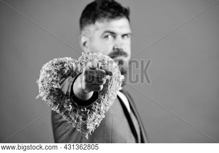 Hey Pretty. Romantic Macho Flirting. Happy Valentines Day. Hipster Hold Heart Symbol Love. Man Forma