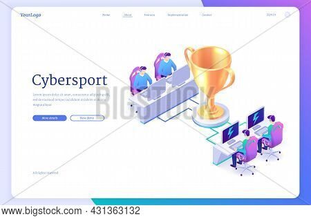 Cyber Sport Isometric Landing Page, Pc Gamer Competition, Professional Gaming Tournament, Participan