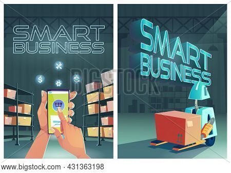 Smart Business Cartoon Posters, Forklift Robot Loading Box In Warehouse Interior. Distributor Use Ap