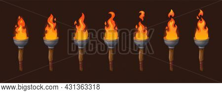 Set Of Medieval Sprite Torches With Burning Fire Sequence Animation. Ancient Wooden Brands With Flam