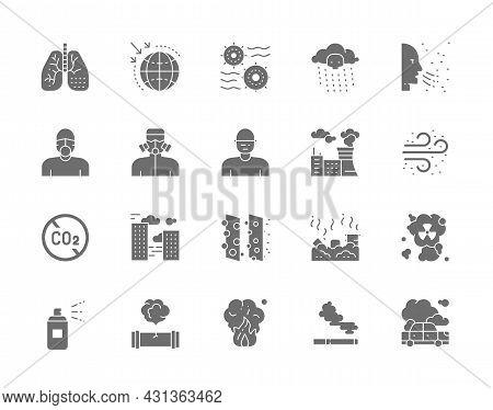 Set Of Pollution Gray Icons. Air Dust, Radioactive Rain, Protective Mask, Smog