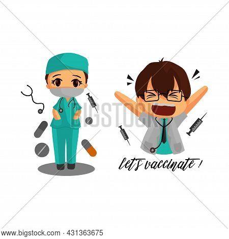 Doctors Characters Illustration Corona Virus 2019. Medicine Workers Set