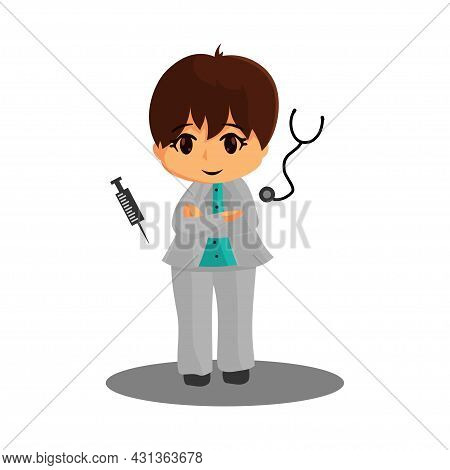 Doctor Character Standing With Syringe And Stethoscope Corona Virus 2019 Medicine Worker