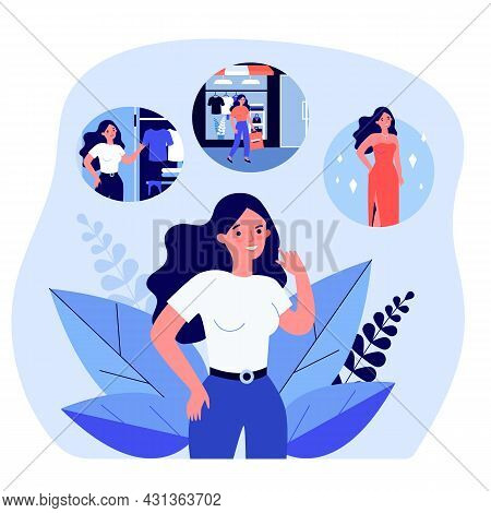 Cartoon Woman Thinking About Buying Beautiful New Dress. Girl Going To Clothing Store And Getting Dr