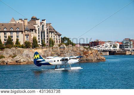 Victoria, Vancouver Island, British Columbia, Canada - August 17, 2021: Harbour Air Seaplane In Down