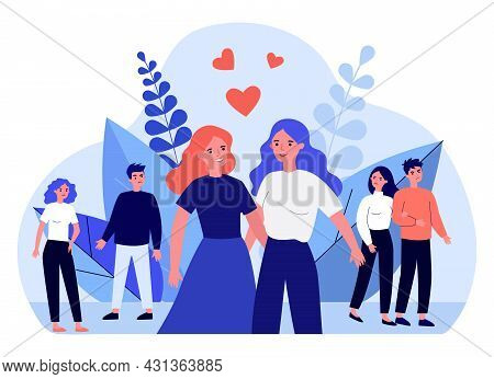 Cartoon People Judging Happy Lesbian Couple. Angry Persons Avoiding Two Gay Women Flat Vector Illust