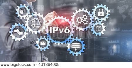 Ipv6. Businessman Pressing Touch Screen Interface And Select Icon Internet Protocol