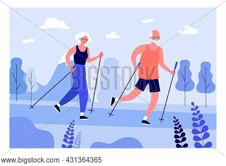 Elderly People Practicing Nordic Walking. Flat Vector Illustration. Elderly Man And Woman In Tracksu