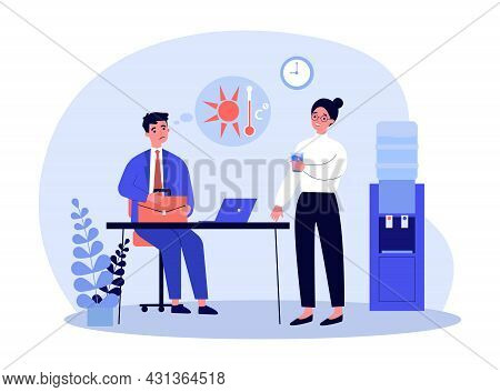 Sweating Cartoon Businessman Working In Office In Hot Weather. Female Worker Drinking Water From Coo