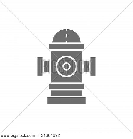 Fire Hydrant Grey Icon. Isolated On White Background