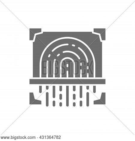 Fingerprint Scan, Cryptographic Signature, Identity Grey Icon.