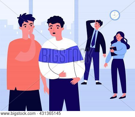 Office Workers Gossiping About Colleagues Dating. Male Character Telling Secret To Friend Flat Vecto