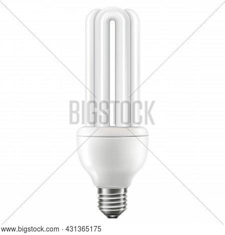 Led Light Emitting Diode Energy Saving Light Bulb, Economical Lightbulb, Isolated On White Backgroun