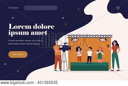 Children Standing On Stage And Signing Song On Camera. Mobile Phone, Video, Scene Flat Vector Illust