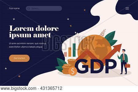 Happy Businessman Presenting Gdp Growth. Man In Suit With Growth Chart, Cash And Globe. Vector Illus