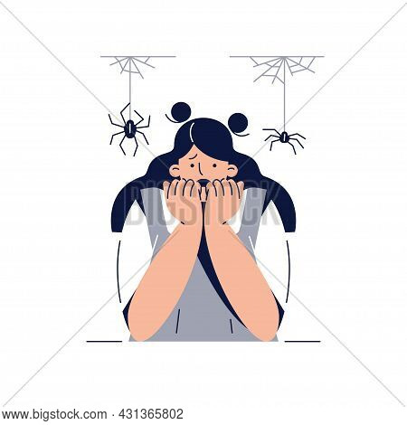 Fear Of Spiders, Arachnophobia Vector Illustration. Screaming Frightened Woman Character With Phobia