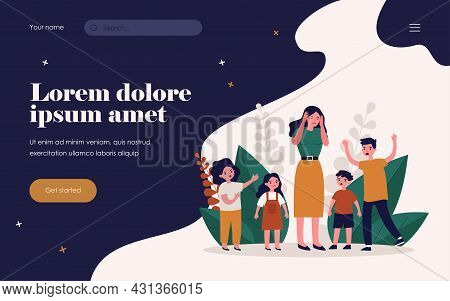 Woman Having Headache And Surrounded By Angry Children. Teacher, Mom, Noise Flat Vector Illustration