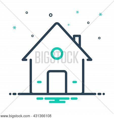 Mix Icon For House Premises Dwelling Residence Home Building Architecture Mortgage Property Real-est