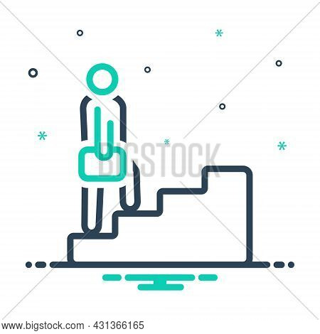 Mix Icon For Step Ladder Climb Tread-of-steps Business Staircase Walking Success Progress Improvemen