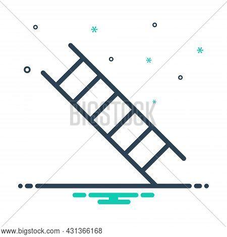 Mix Icon For Step Ladder Climb Tread-of-steps Staircase Drawbridge Progress Improvement Level Home E