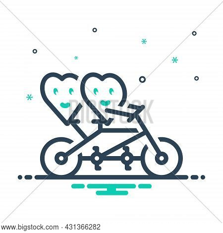 Mix Icon For Two-happy-hearts Love Biking Friendship Happy Smile Together Bicycle Affection Emotiona
