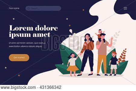 Sad Parent Standing With Crying Children. Mother, Behavior, Difficulty Flat Vector Illustration. Par