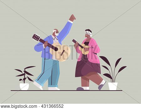 Senior African American Couple Playing Guitar Grandparents Having Fun Active Old Age Concept
