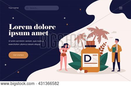Tiny Doctor Recommending Vitamin D For Wellbeing Flat Vector Illustration. Cartoon People Getting Me