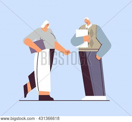 Senior Businesspeople Discussing During Meeting Business Man Woman Couple In Formal Wear Standing To