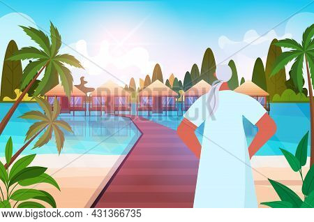 Senior Woman Relaxing On Tropical Beach Aged Lady Having Summer Vacation Active Old Age Concept
