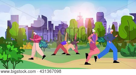 Senior People Group Doing Physical Exercises In Urban Park Aged Men Women Training Outdoor Workout A