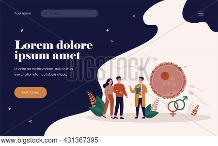 Human Reproduction And Family Planning Concept. Young Couple Consulting Reproductive Doctor, Ovum Fe