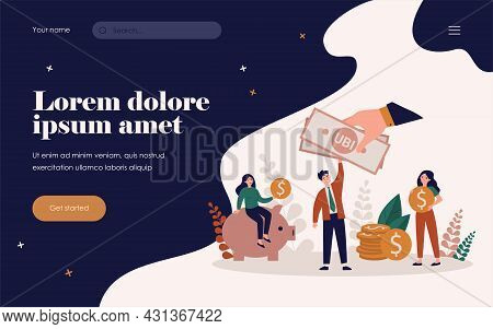 Successful People Getting Benefits, Investing And Saving Money. Flat Vector Illustration For Income,