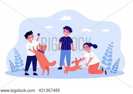 Cartoon Children Playing With Dogs Flat Vector Illustration. Little Boys And Girl Throwing Ball To P