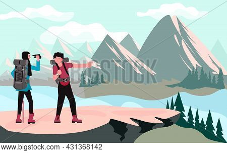 Pair Of Backpackers, Hikers, Travellers Or Explorers Standing And Looking At Nature