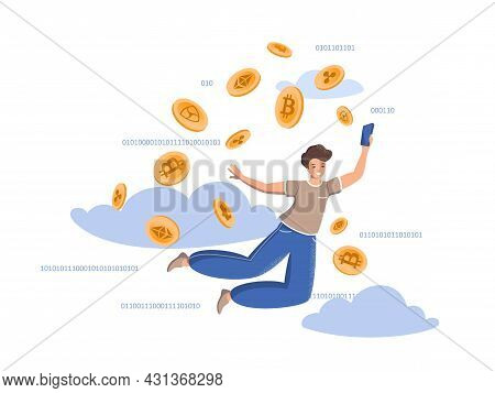 Positive Happy Man With A Phone On The Background Of Crypto Coins And Clouds. Mining Crypto Currenci