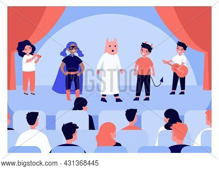 Children Performing On Stage In Front Of Audience. Flat Vector Illustration. Kids Playing In Costume
