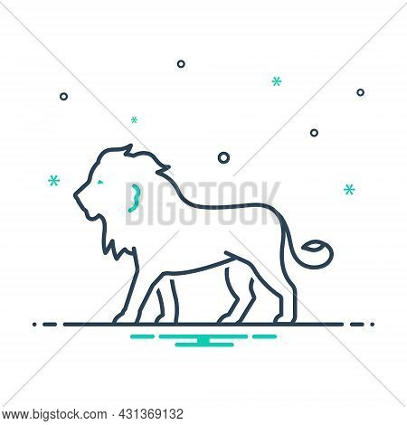 Mix Icon For Lion King-of-the-forest Carnivorous King Majestic Hunting Predator Wild Nature Animal J