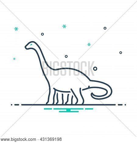 Mix Icon For Dinosaur Dangerous Herbivore Jurassic Monster Lizard Nature Animal Jungle Wildlife Zoo