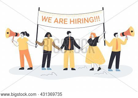 Business Team Recruiting Staff Flat Vector Illustration. Hr Managers Inviting Office Workers For Int