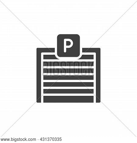 Parking Garage Vector Icon. Filled Flat Sign For Mobile Concept And Web Design. Parking Gate Glyph I