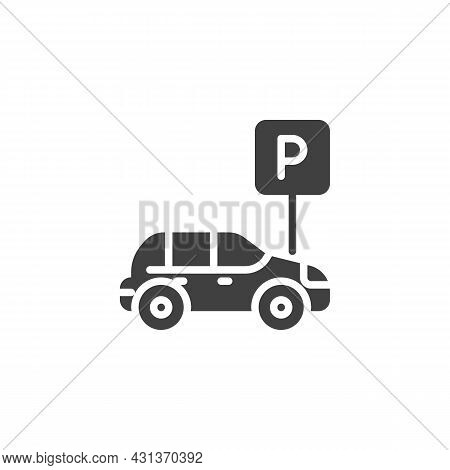 Car Parking Sign Vector Icon. Filled Flat Sign For Mobile Concept And Web Design. Auto Parking Zone