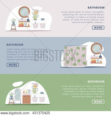 Landing Page With Bathroom Or Washroom Interior Containing Sink, Mirror And Bathtub Vector Template