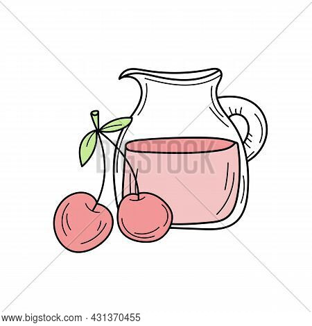 Juice With Cherry In A Glass Jug, Vector Cartoon Card With Fresh Berries Isolated On White. Cherry L