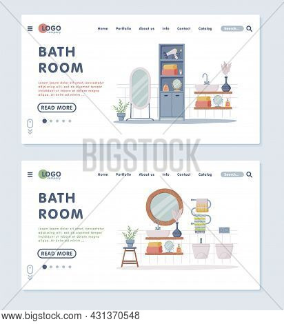 Landing Page With Bathroom Or Washroom Interior Containing Sink, Mirror And Cabinet Vector Template