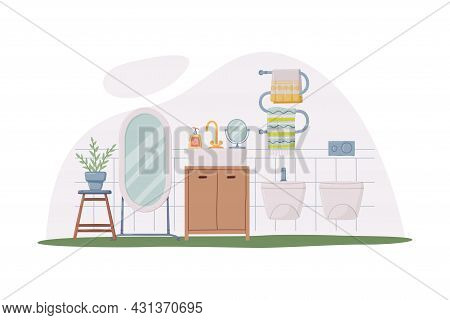 Bathroom Or Washroom Interior With Bidet, Mirror And Drawers Vector Illustration