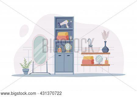 Bathroom Or Washroom Interior With Mirror, Cabinet And Sink Vector Illustration